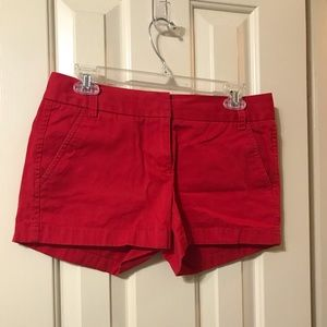 Red chino shorts by J Crew